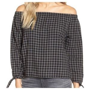 Madewell black plaid off the shoulder top A0210